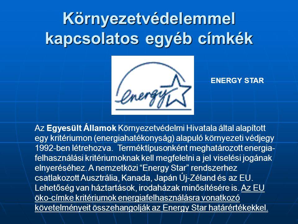 Környezetvédelemmel kapcsolatos egyéb címkék Az Egyesült Államok Környezetvédelmi Hivatala által alapított egy kritériumon (energiahatékonyság) alapul