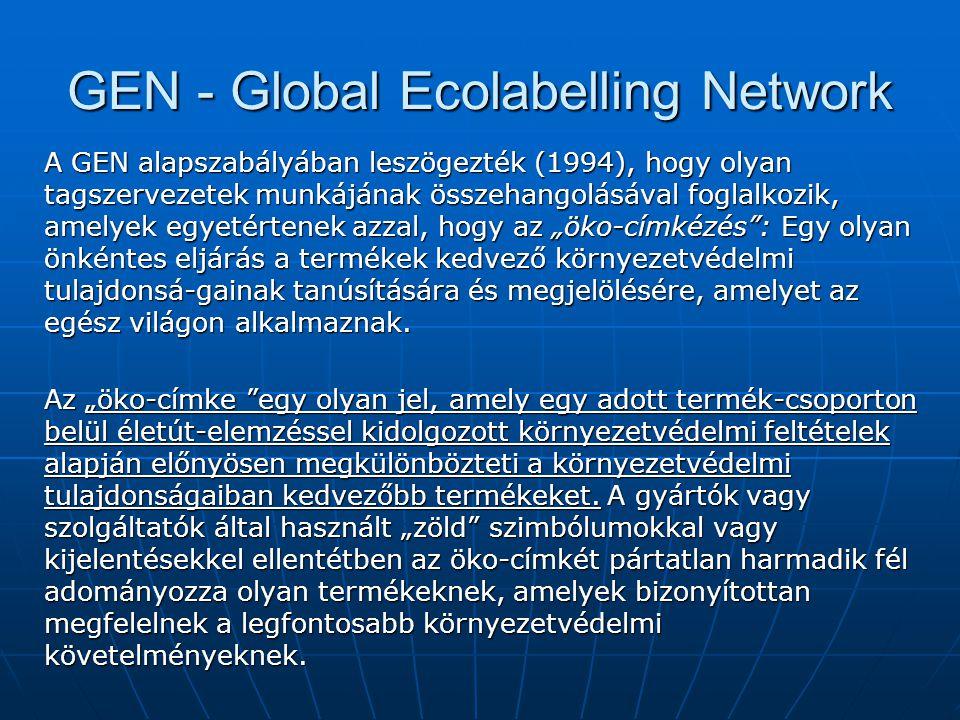 GEN - Global Ecolabelling Network A GEN alapszabályában leszögezték (1994), hogy olyan tagszervezetek munkájának összehangolásával foglalkozik, amelye