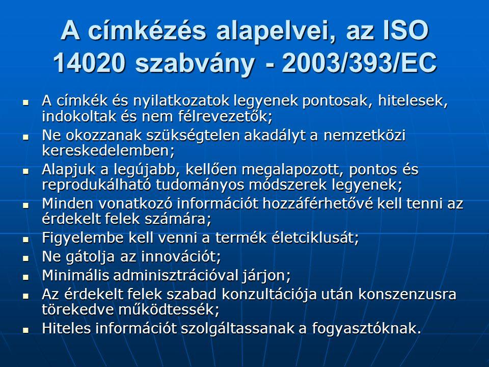 A címkézés alapelvei, az ISO 14020 szabvány - 2003/393/EC A címkék és nyilatkozatok legyenek pontosak, hitelesek, indokoltak és nem félrevezetők; A cí