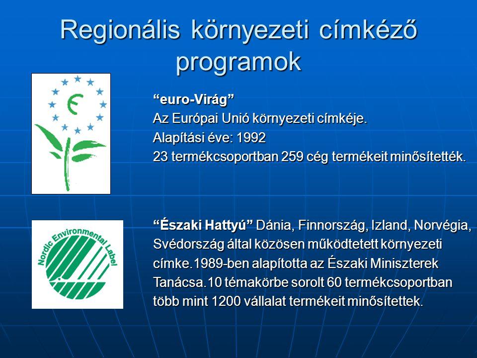 """Regionális környezeti címkéző programok """"euro-Virág"""" Az Európai Unió környezeti címkéje. Alapítási éve: 1992 23 termékcsoportban 259 cég termékeit min"""
