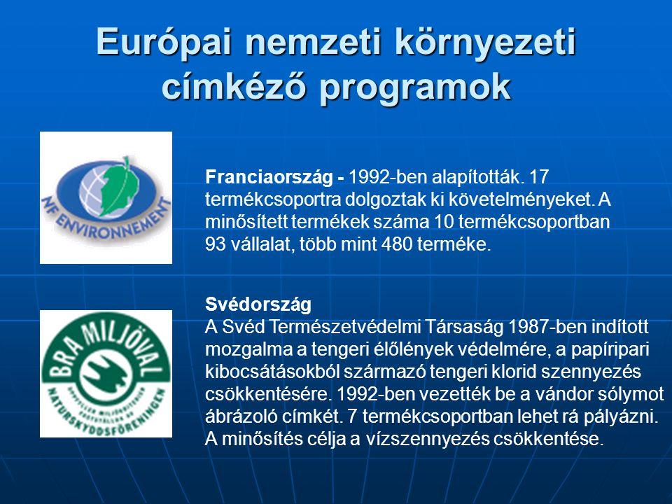 Európai nemzeti környezeti címkéző programok Franciaország - 1992-ben alapították. 17 termékcsoportra dolgoztak ki követelményeket. A minősített termé