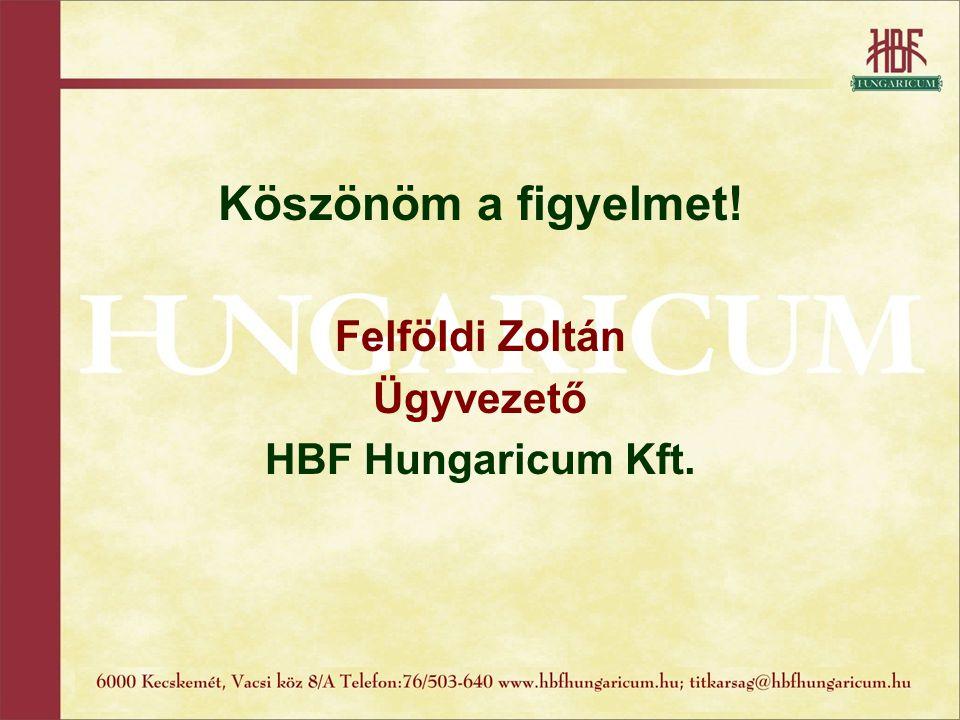 Köszönöm a figyelmet! Felföldi Zoltán Ügyvezető HBF Hungaricum Kft.