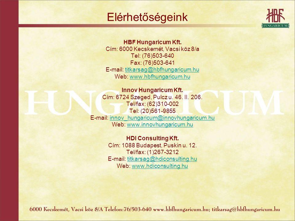 Elérhetőségeink HBF Hungaricum Kft. Cím: 6000 Kecskemét, Vacsi köz 8/a Tel: (76)503-640 Fax: (76)503-641 E-mail: titkarsag@hbfhungaricum.hutitkarsag@h