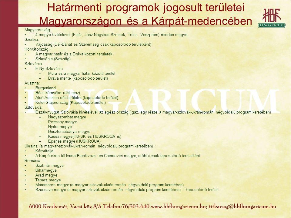 Határmenti programok jogosult területei Magyarországon és a Kárpát-medencében Magyarország: 4 megye kivételével (Fejér, Jász-Nagykun-Szolnok, Tolna, V