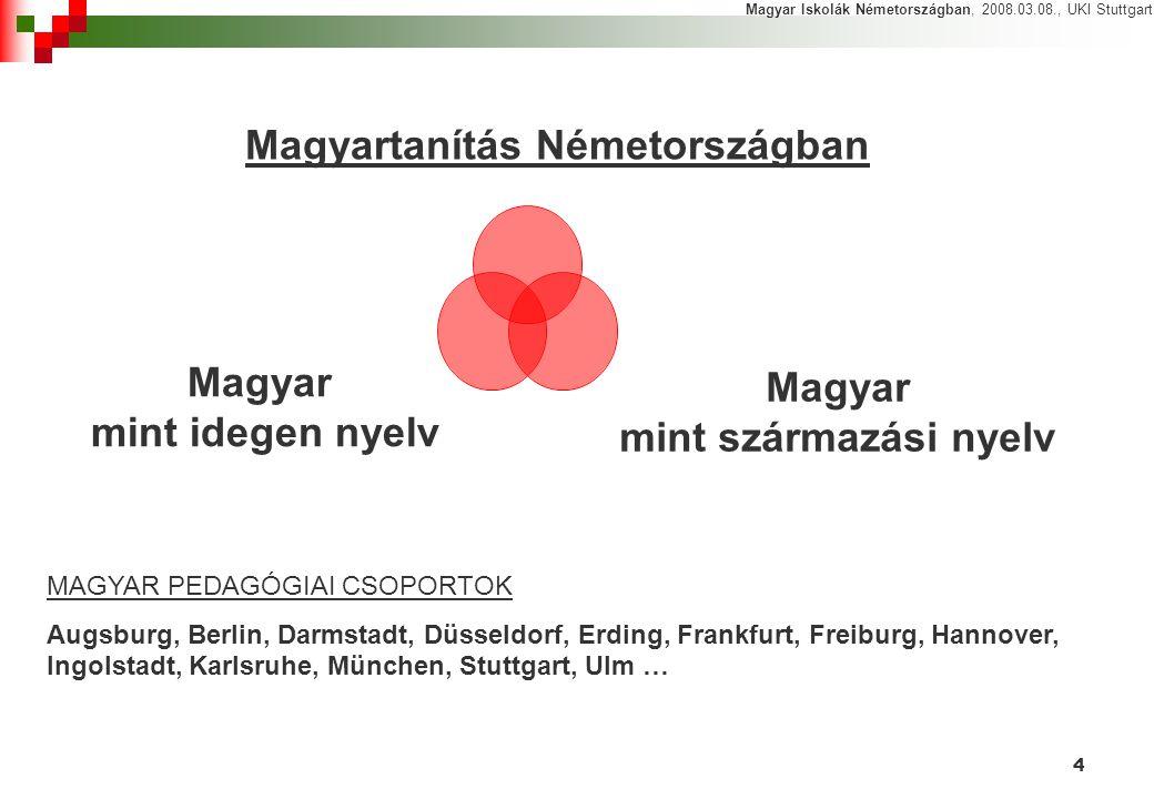 4 Magyartanítás Németországban Magyar mint idegen nyelv Magyar mint származási nyelv Magyar Iskolák Németországban, 2008.03.08., UKI Stuttgart MAGYAR