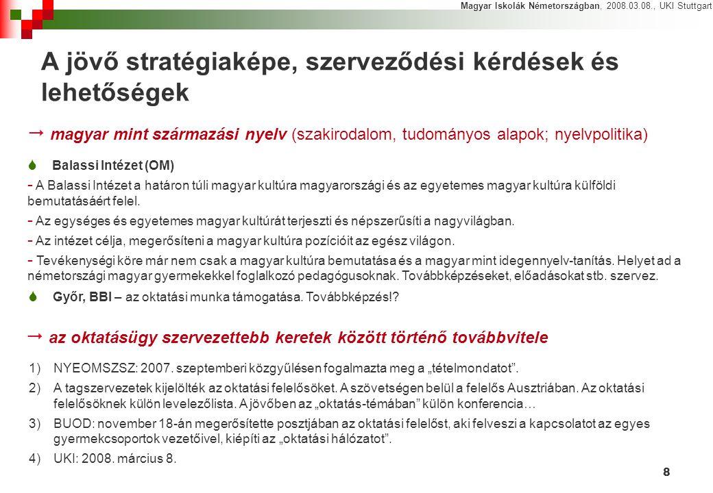8 A jövő stratégiaképe, szerveződési kérdések és lehetőségek Magyar Iskolák Németországban, 2008.03.08., UKI Stuttgart  Balassi Intézet (OM) - A Bala