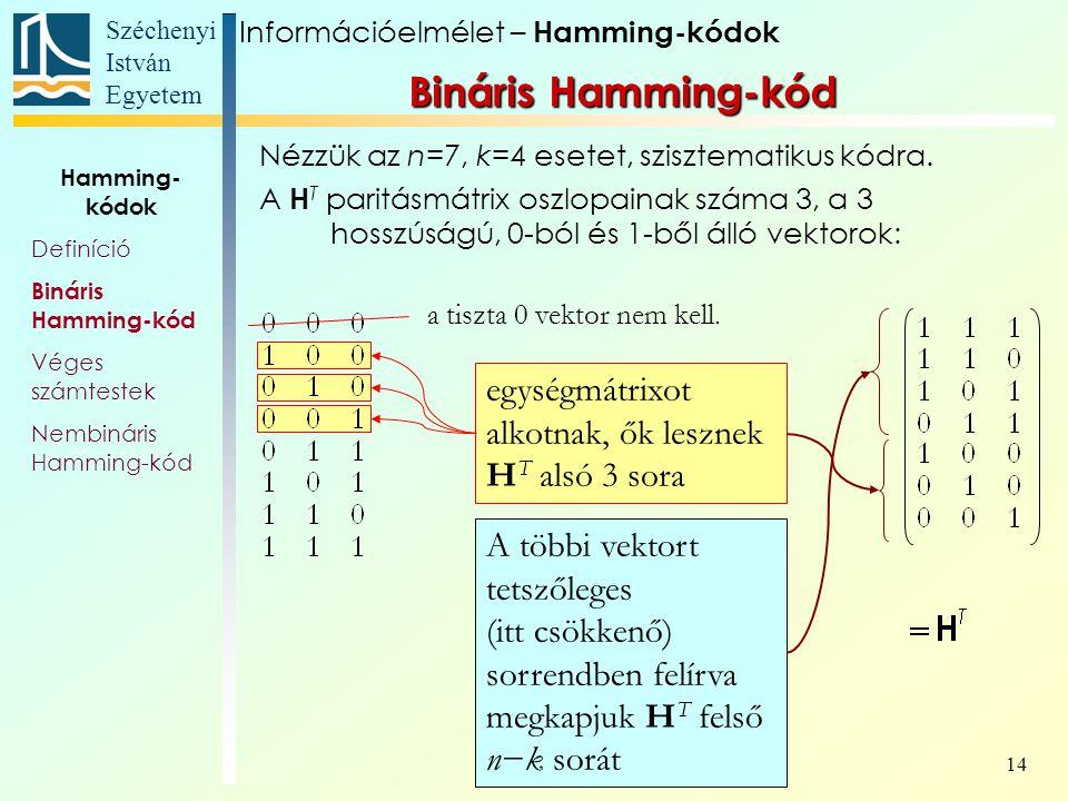 Széchenyi István Egyetem 14 Nézzük az n=7, k=4 esetet, szisztematikus kódra.