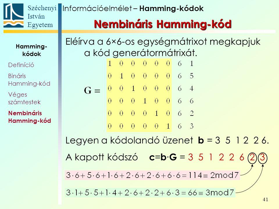 Széchenyi István Egyetem 41 Eléírva a 6×6-os egységmátrixot megkapjuk a kód generátormátrixát.
