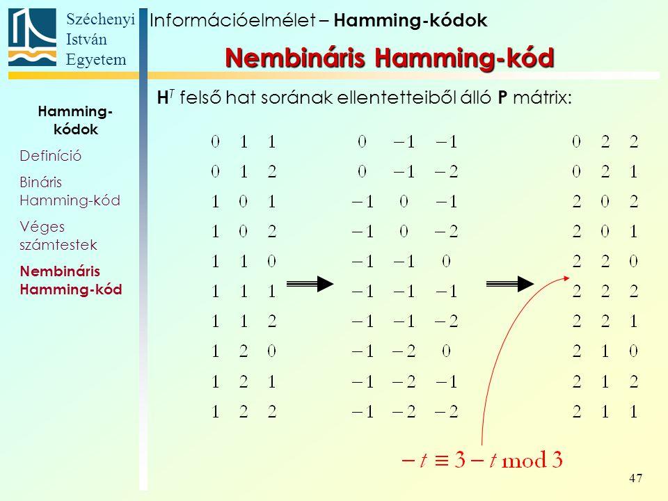 Széchenyi István Egyetem 47 H T felső hat sorának ellentetteiből álló P mátrix: Információelmélet – Hamming-kódok Nembináris Hamming-kód Hamming- kódok Definíció Bináris Hamming-kód Véges számtestek Nembináris Hamming-kód