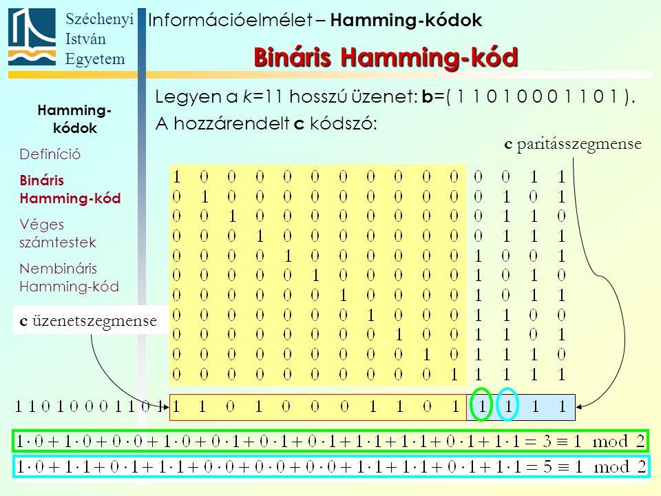 Széchenyi István Egyetem 40 H T felső hat sorának ellentetteiből álló P mátrix: Információelmélet – Hamming-kódok Nembináris Hamming-kód Hamming- kódok Definíció Bináris Hamming-kód Véges számtestek Nembináris Hamming-kód