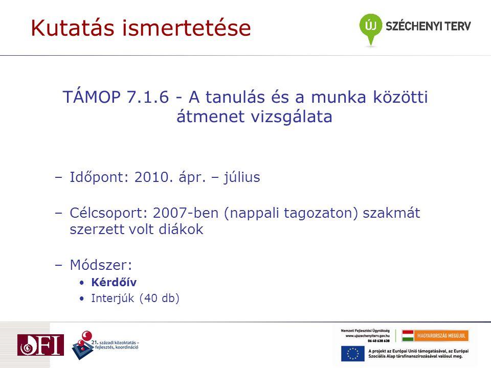 Kutatás ismertetése TÁMOP 7.1.6 - A tanulás és a munka közötti átmenet vizsgálata –Időpont: 2010.