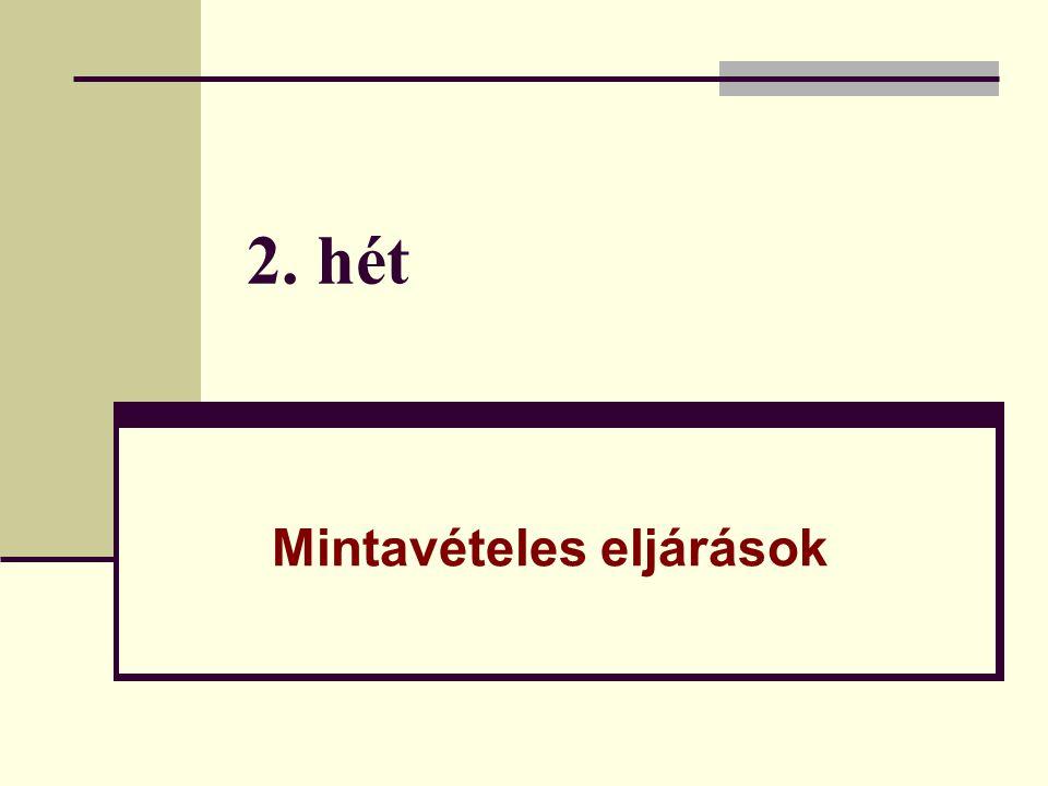 2.Kvótás kiválasztás Jellemzői:  Rögzítve van, hogy milyen összetételű mintát kell létrehozni.