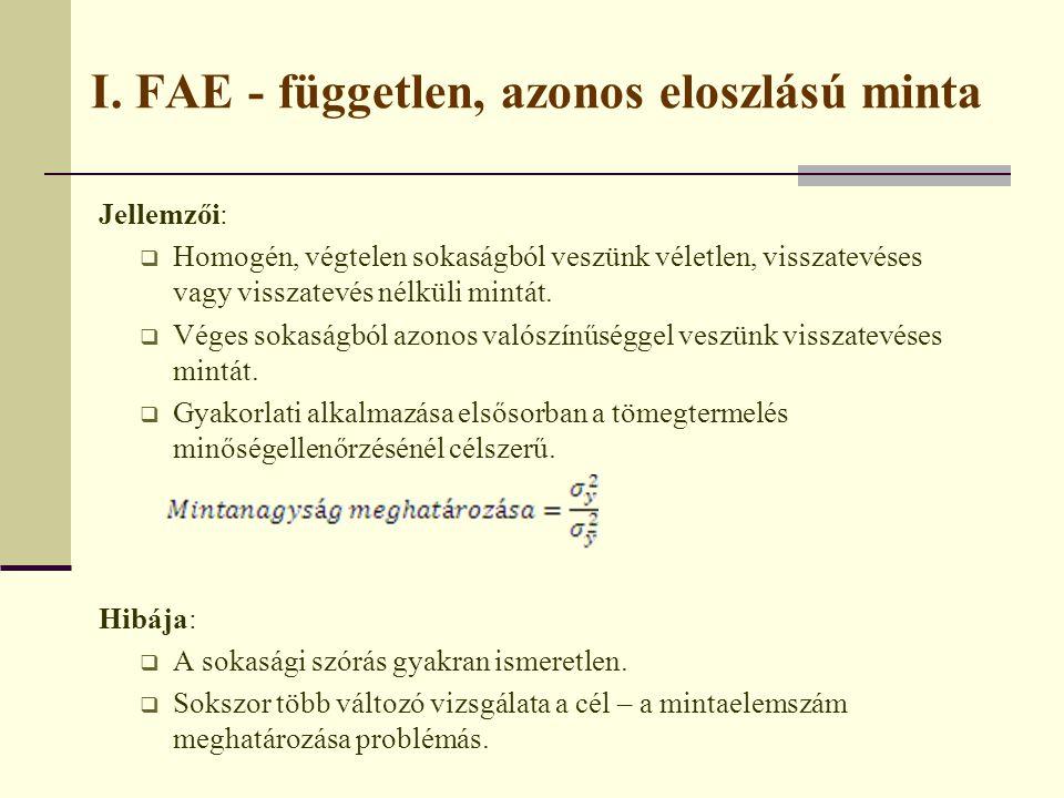 I. FAE - független, azonos eloszlású minta Jellemzői:  Homogén, végtelen sokaságból veszünk véletlen, visszatevéses vagy visszatevés nélküli mintát.