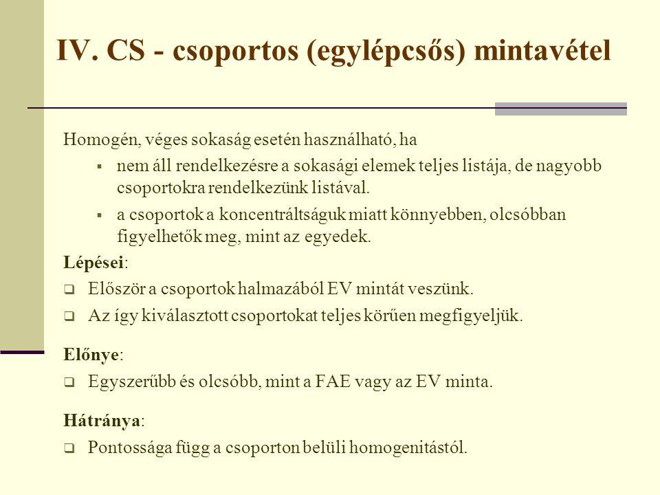 IV. CS - csoportos (egylépcsős) mintavétel Homogén, véges sokaság esetén használható, ha  nem áll rendelkezésre a sokasági elemek teljes listája, de
