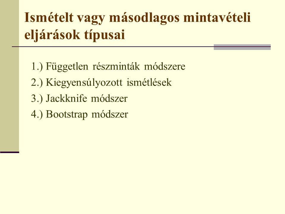 Ismételt vagy másodlagos mintavételi eljárások típusai 1.) Független részminták módszere 2.) Kiegyensúlyozott ismétlések 3.) Jackknife módszer 4.) Boo