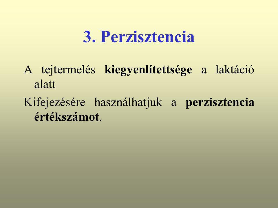 3. Perzisztencia A tejtermelés kiegyenlítettsége a laktáció alatt Kifejezésére használhatjuk a perzisztencia értékszámot.