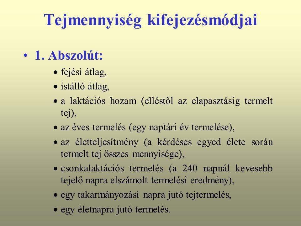 Tejmennyiség kifejezésmódjai 1. Abszolút:  fejési átlag,  istálló átlag,  a laktációs hozam (elléstől az elapasztásig termelt tej),  az éves terme