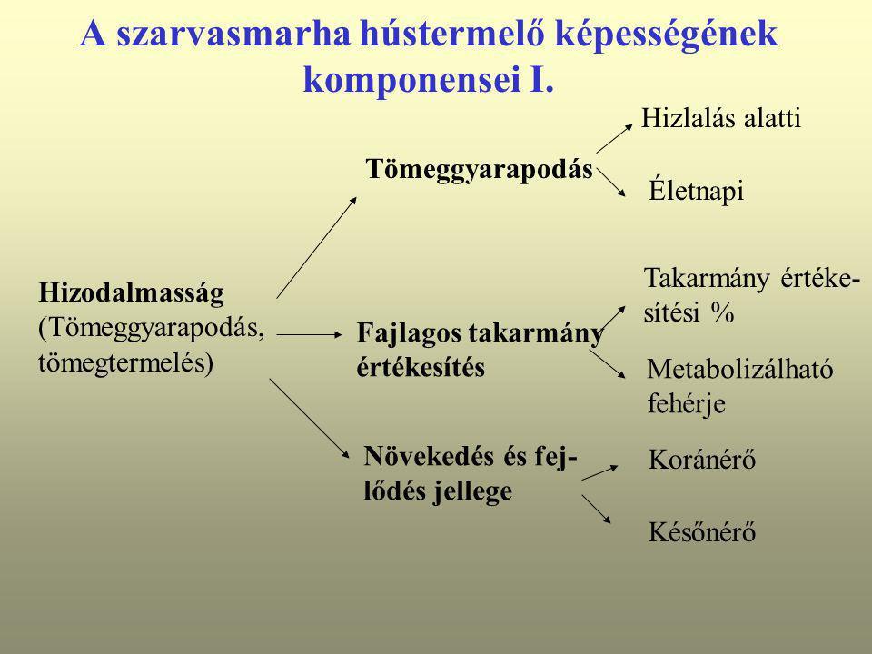 A szarvasmarha hústermelő képességének komponensei I. Hizodalmasság (Tömeggyarapodás, tömegtermelés) Tömeggyarapodás Hizlalás alatti Életnapi Fajlagos
