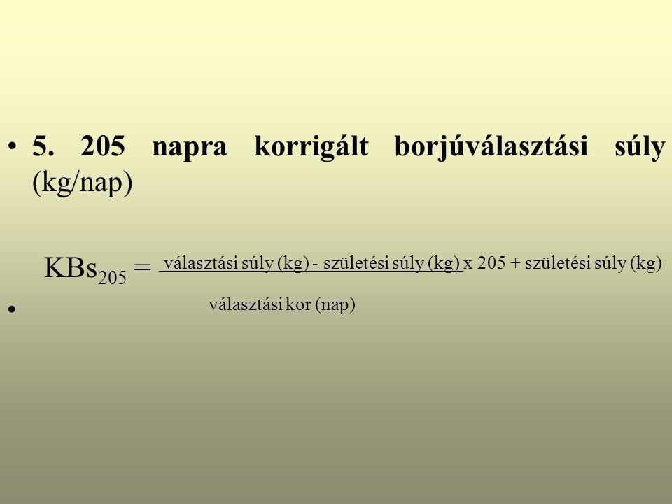 5. 205 napra korrigált borjúválasztási súly (kg/nap) KBs 205 = választási súly (kg) - születési súly (kg) x 205 + születési súly (kg) választási kor (