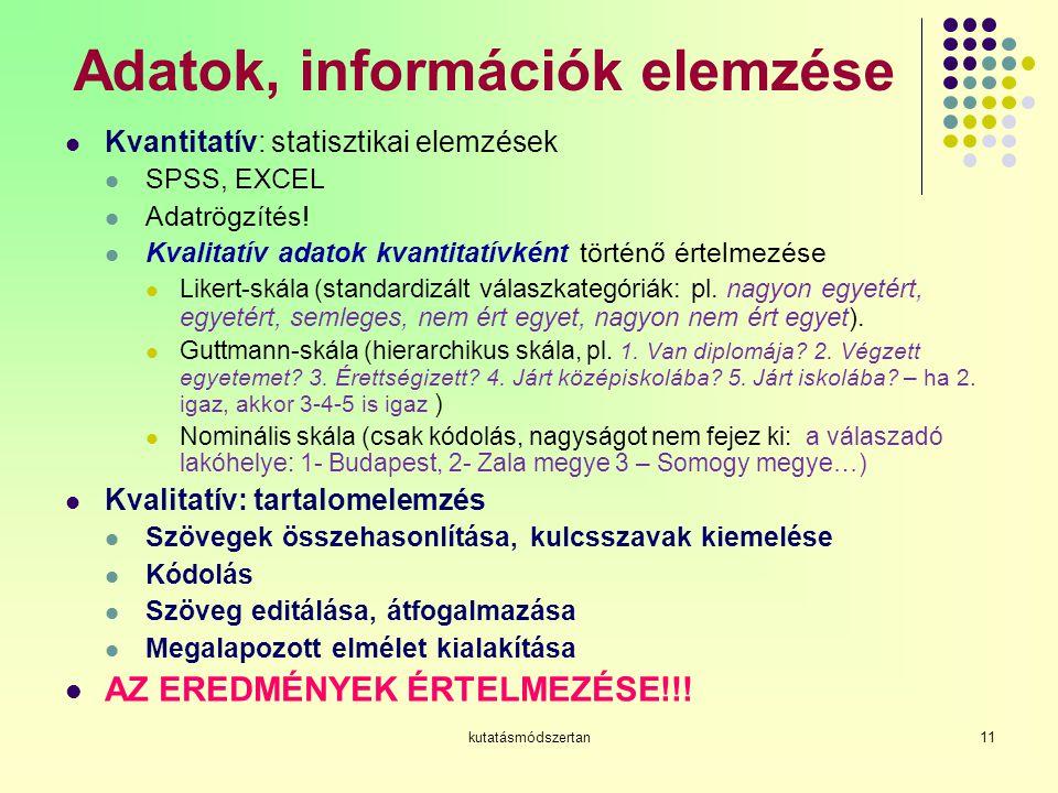 kutatásmódszertan11 Adatok, információk elemzése Kvantitatív: statisztikai elemzések SPSS, EXCEL Adatrögzítés.