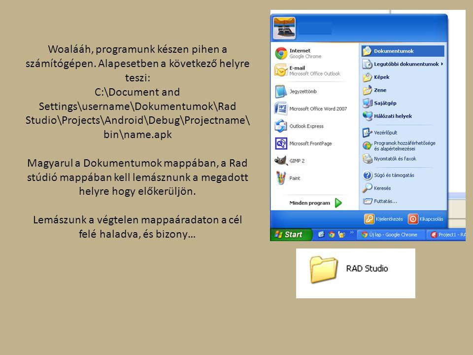 Woalááh, programunk készen pihen a számítógépen. Alapesetben a következő helyre teszi: C:\Document and Settings\username\Dokumentumok\Rad Studio\Proje
