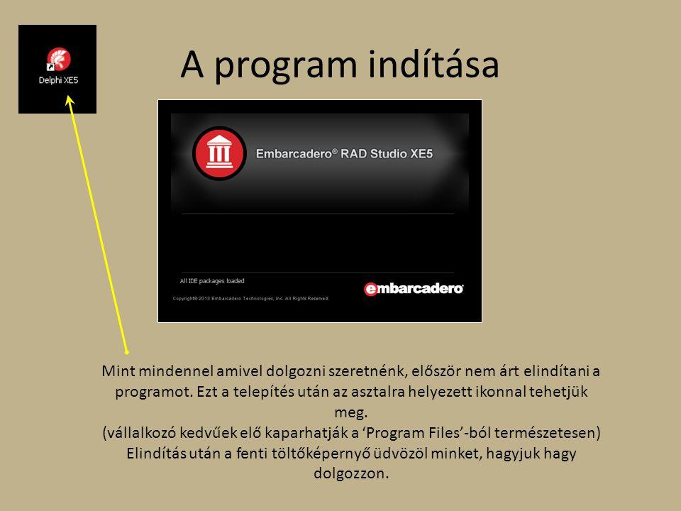 A program indítása Mint mindennel amivel dolgozni szeretnénk, először nem árt elindítani a programot. Ezt a telepítés után az asztalra helyezett ikonn