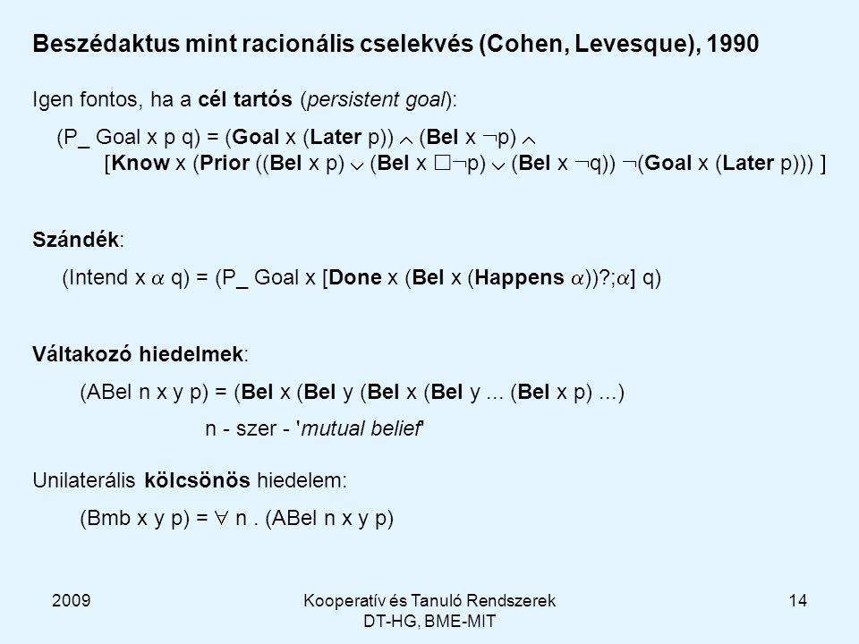 2009Kooperatív és Tanuló Rendszerek DT-HG, BME-MIT 14 Beszédaktus mint racionális cselekvés (Cohen, Levesque), 1990 Igen fontos, ha a cél tartós (persistent goal): (P_ Goal x p q) = (Goal x (Later p))  (Bel x  p)   Know x (Prior ((Bel x p)  (Bel x   p)  (Bel x  q))  (Goal x (Later p)))  Szándék: (Intend x  q) = (P_ Goal x [Done x (Bel x (Happens  ))?;  ] q) Váltakozó hiedelmek: (ABel n x y p) = (Bel x (Bel y (Bel x (Bel y...