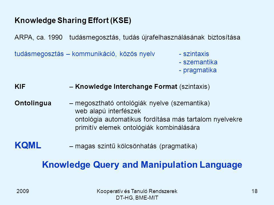 2009Kooperatív és Tanuló Rendszerek DT-HG, BME-MIT 18 Knowledge Sharing Effort (KSE) ARPA, ca.