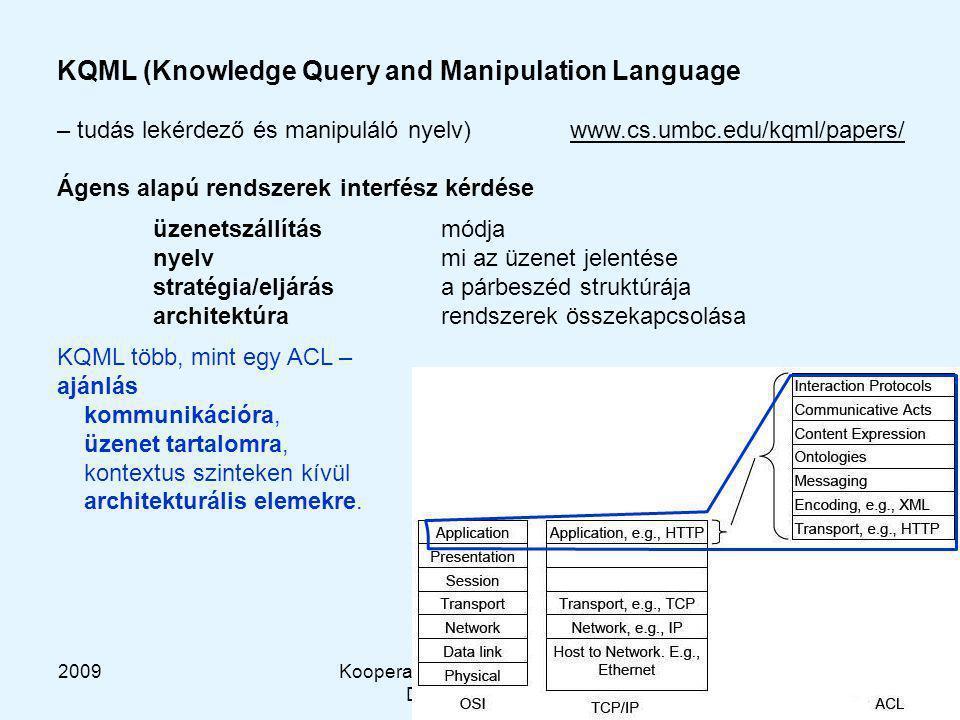 2009Kooperatív és Tanuló Rendszerek DT-HG, BME-MIT 20 KQML (Knowledge Query and Manipulation Language – tudás lekérdező és manipuláló nyelv) www.cs.umbc.edu/kqml/papers/ Ágens alapú rendszerek interfész kérdése üzenetszállítás módja nyelvmi az üzenet jelentése stratégia/eljárása párbeszéd struktúrája architektúrarendszerek összekapcsolása KQML több, mint egy ACL – ajánlás kommunikációra, üzenet tartalomra, kontextus szinteken kívül architekturális elemekre.