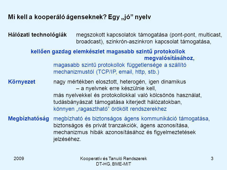 2009Kooperatív és Tanuló Rendszerek DT-HG, BME-MIT 3 Mi kell a kooperáló ágenseknek.