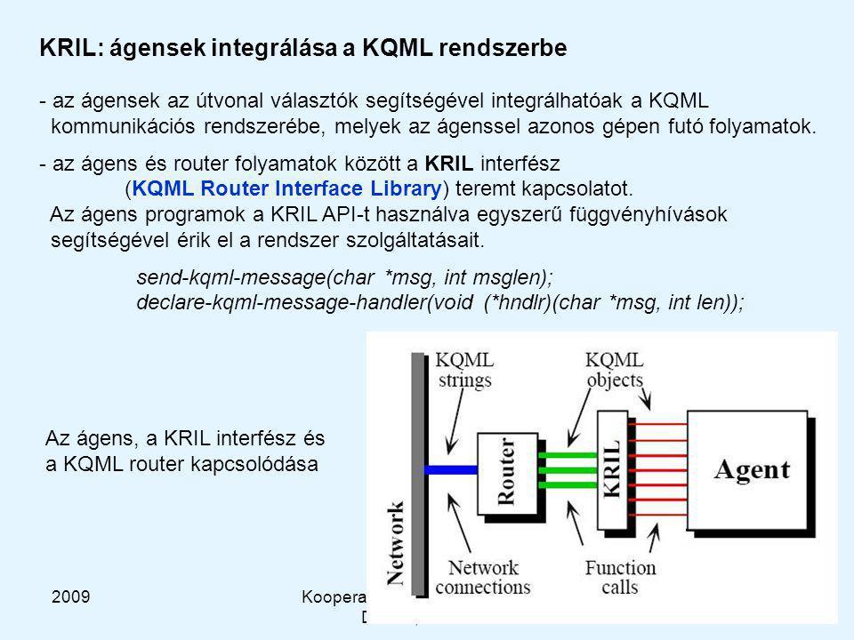 2009Kooperatív és Tanuló Rendszerek DT-HG, BME-MIT 36 KRIL: ágensek integrálása a KQML rendszerbe - az ágensek az útvonal választók segítségével integrálhatóak a KQML kommunikációs rendszerébe, melyek az ágenssel azonos gépen futó folyamatok.