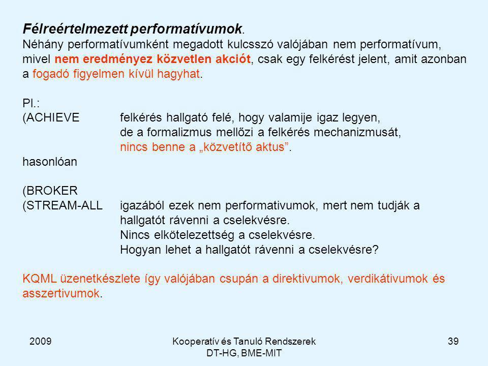 2009Kooperatív és Tanuló Rendszerek DT-HG, BME-MIT 39 Félreértelmezett performatívumok.