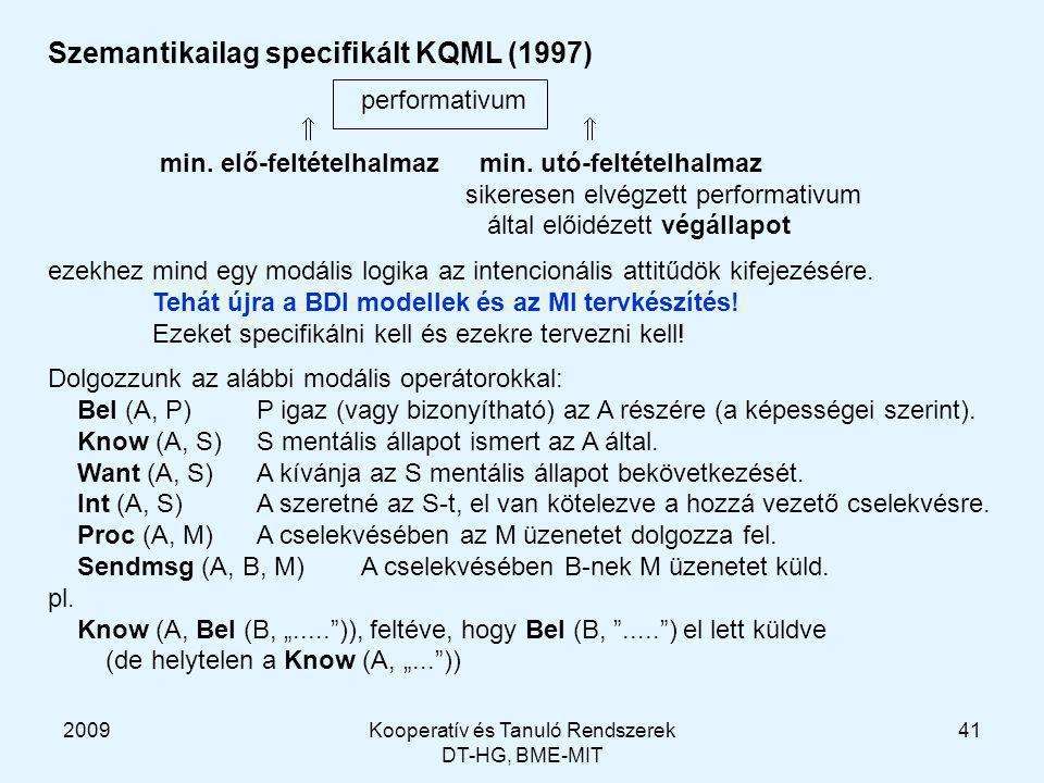 2009Kooperatív és Tanuló Rendszerek DT-HG, BME-MIT 41 Szemantikailag specifikált KQML (1997) performativum  min.