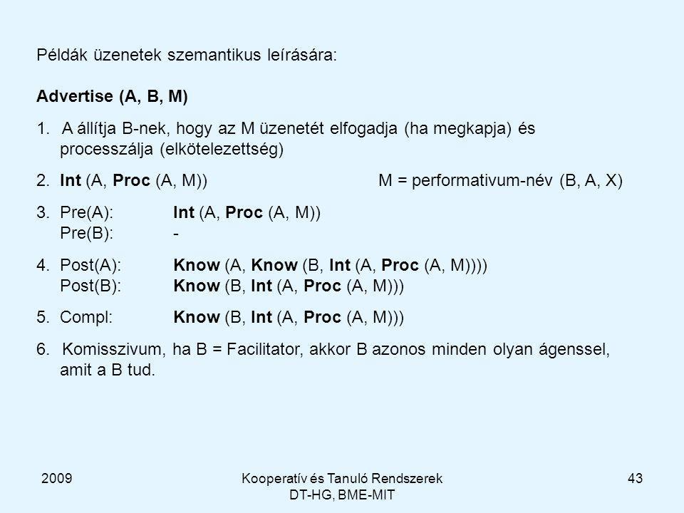 2009Kooperatív és Tanuló Rendszerek DT-HG, BME-MIT 43 Példák üzenetek szemantikus leírására: Advertise (A, B, M) 1.A állítja B-nek, hogy az M üzenetét elfogadja (ha megkapja) és processzálja (elkötelezettség) 2.