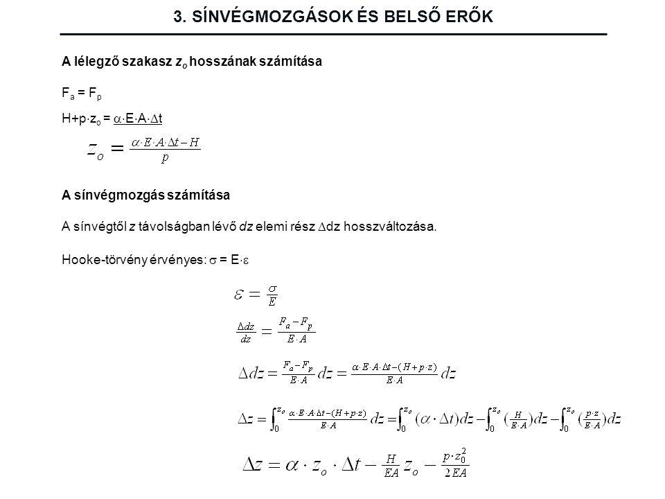 3. SÍNVÉGMOZGÁSOK ÉS BELSŐ ERŐK A lélegző szakasz z o hosszának számítása F a = F p H+p  z o =  E  A  t A sínvégmozgás számítása A sínvégtől z t