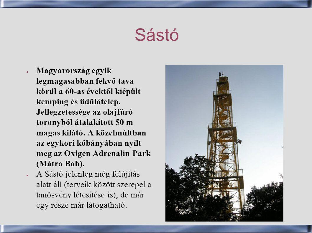 Sástó ● Magyarország egyik legmagasabban fekvő tava körül a 60-as évektől kiépült kemping és üdülőtelep. Jellegzetessége az olajfúró toronyból átalakí