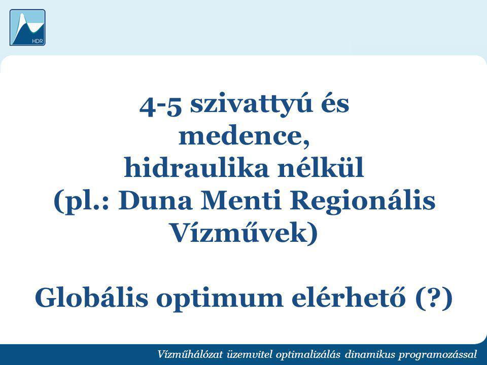 4-5 szivattyú és medence, hidraulika nélkül (pl.: Duna Menti Regionális Vízművek) Globális optimum elérhető (?) Vízműhálózat üzemvitel optimalizálás d