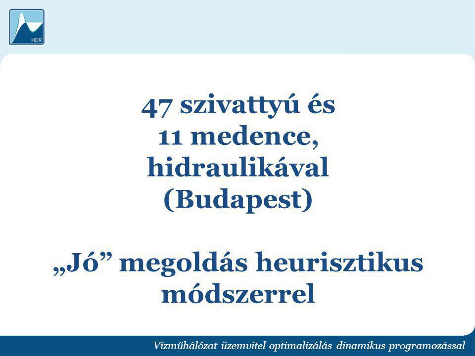 """47 szivattyú és 11 medence, hidraulikával (Budapest) """"Jó"""" megoldás heurisztikus módszerrel Vízműhálózat üzemvitel optimalizálás dinamikus programozáss"""