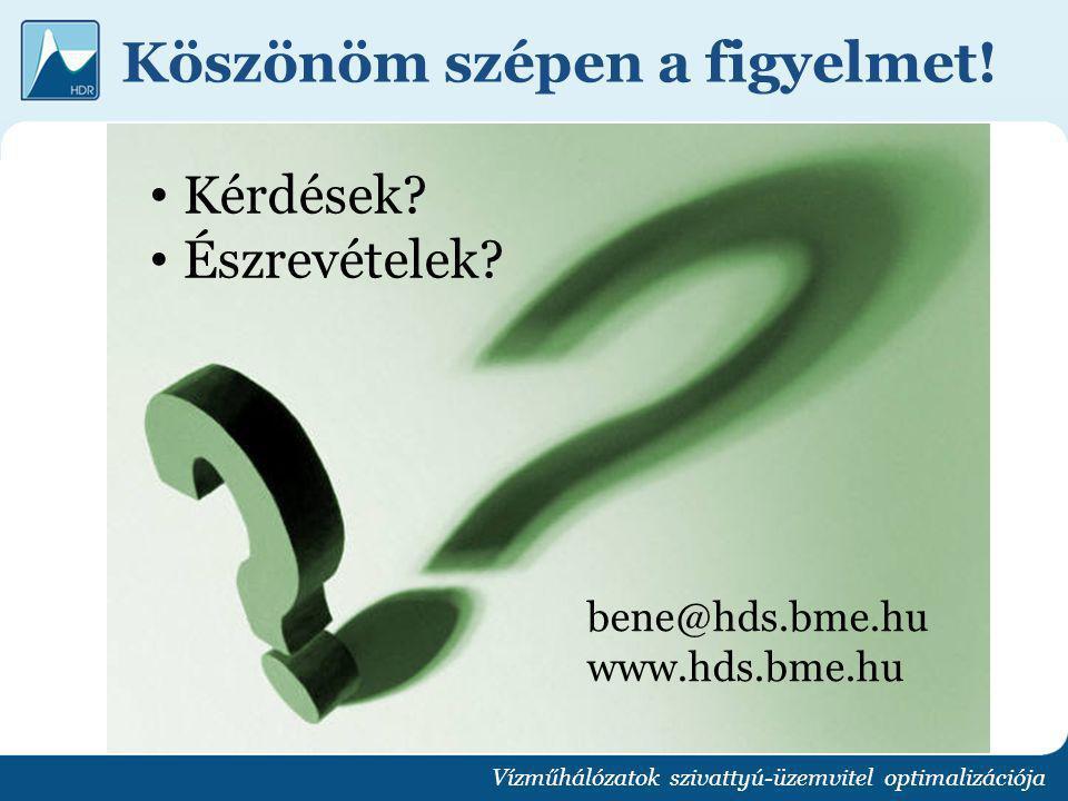 Köszönöm szépen a figyelmet! Vízműhálózatok szivattyú-üzemvitel optimalizációja Kérdések? Észrevételek? bene@hds.bme.hu www.hds.bme.hu