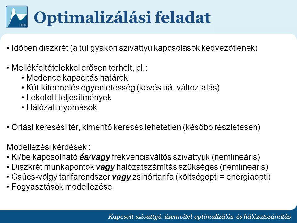 Optimalizálási feladat Kapcsolt szivattyú üzemvitel optimalizálás és hálózatszámítás Időben diszkrét (a túl gyakori szivattyú kapcsolások kedvezőtlene