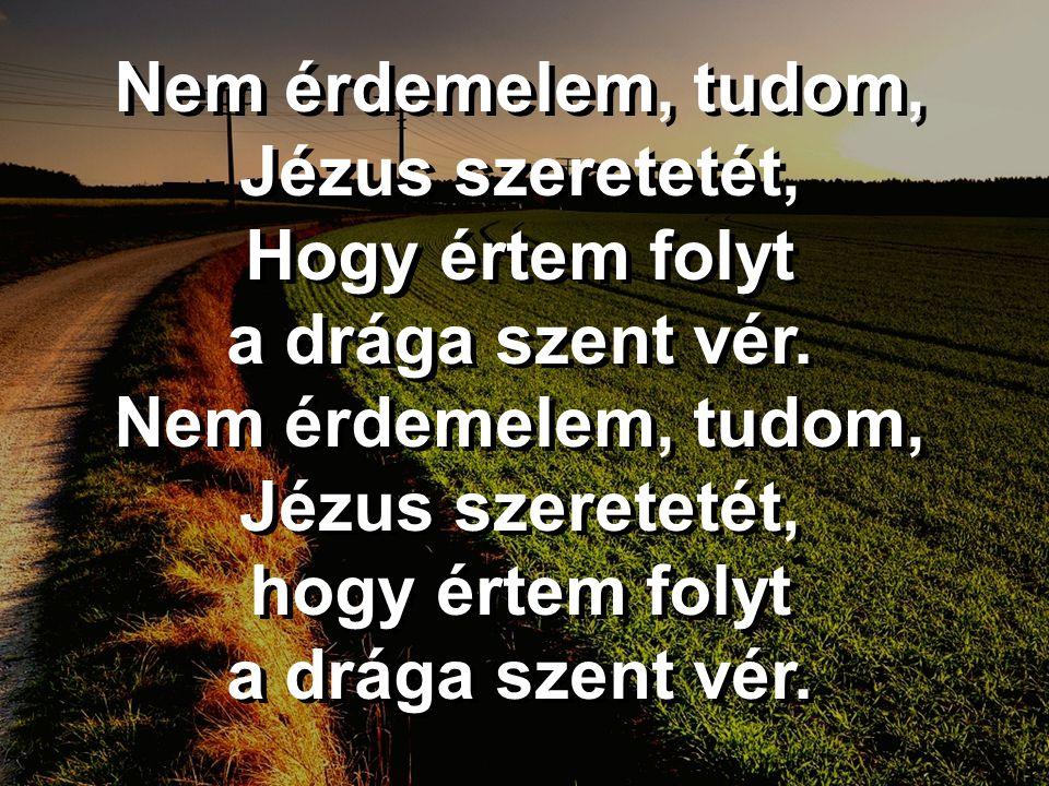 Nem érdemelem, tudom, Jézus szeretetét, Hogy értem folyt a drága szent vér. Nem érdemelem, tudom, Jézus szeretetét, hogy értem folyt a drága szent vér