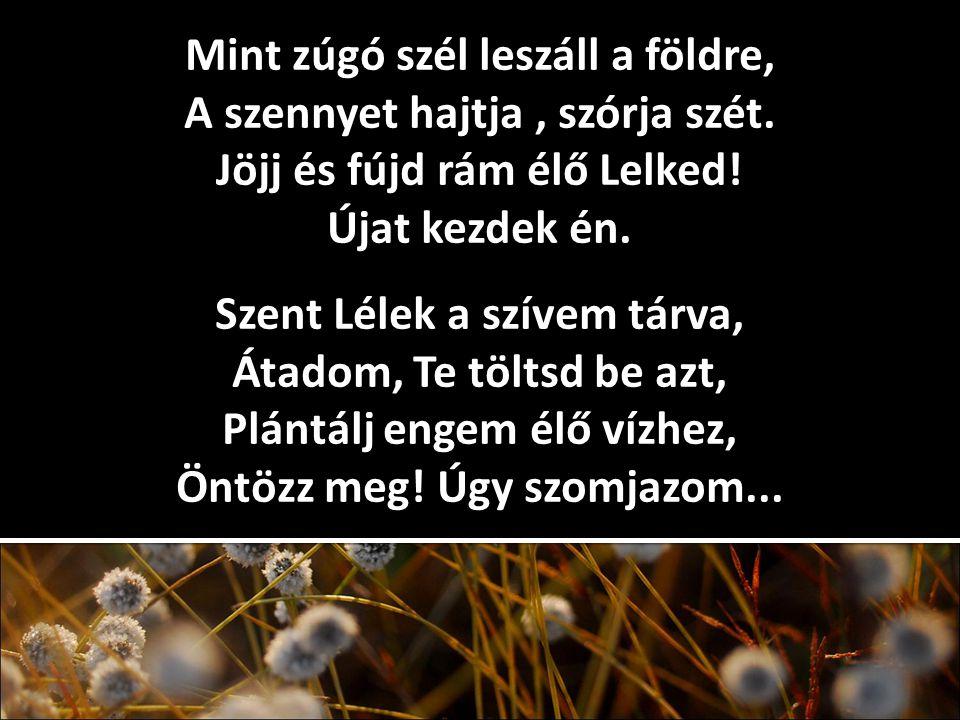 Mint zúgó szél leszáll a földre, A szennyet hajtja, szórja szét. Jöjj és fújd rám élő Lelked! Újat kezdek én. Szent Lélek a szívem tárva, Átadom, Te t