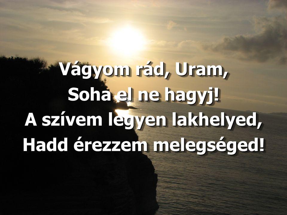 Vágyom rád, Uram, Soha el ne hagyj! A szívem legyen lakhelyed, Hadd érezzem melegséged! Vágyom rád, Uram, Soha el ne hagyj! A szívem legyen lakhelyed,