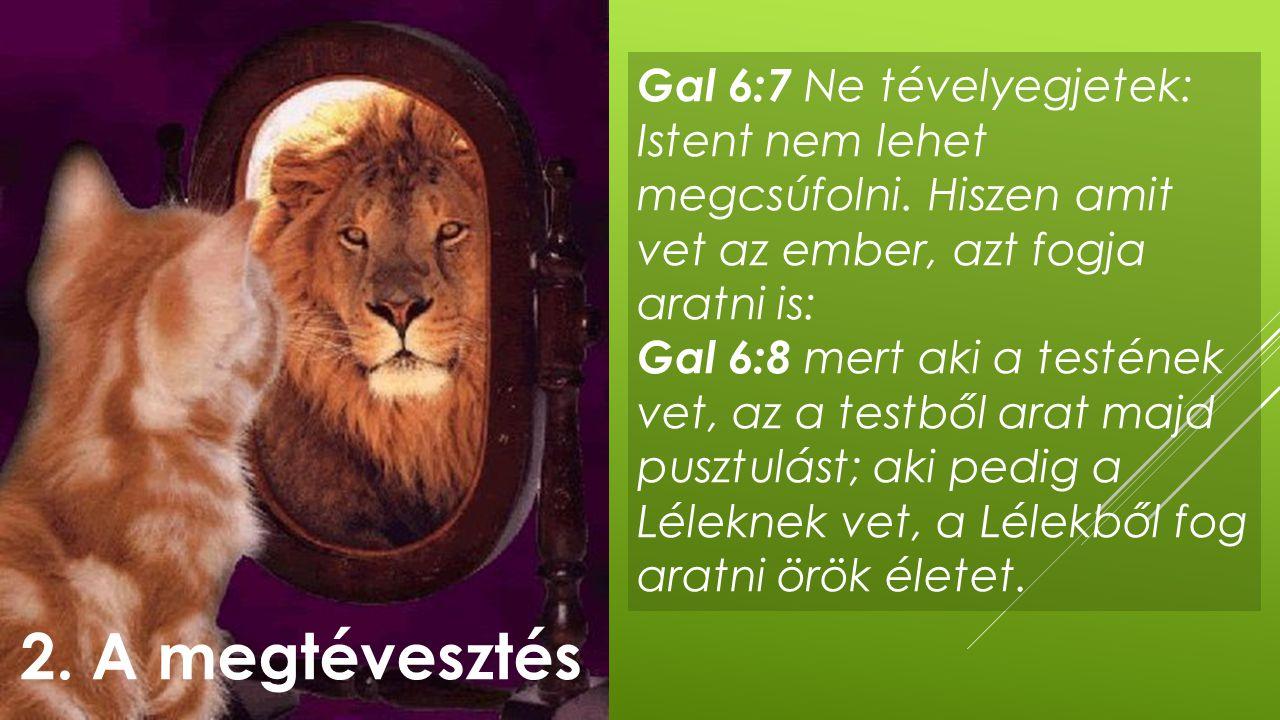 Gal 6:7 Ne tévelyegjetek: Istent nem lehet megcsúfolni. Hiszen amit vet az ember, azt fogja aratni is: Gal 6:8 mert aki a testének vet, az a testből a