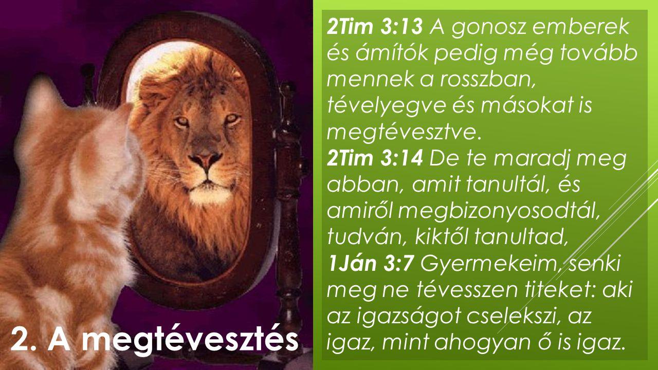 2Tim 3:13 A gonosz emberek és ámítók pedig még tovább mennek a rosszban, tévelyegve és másokat is megtévesztve. 2Tim 3:14 De te maradj meg abban, amit