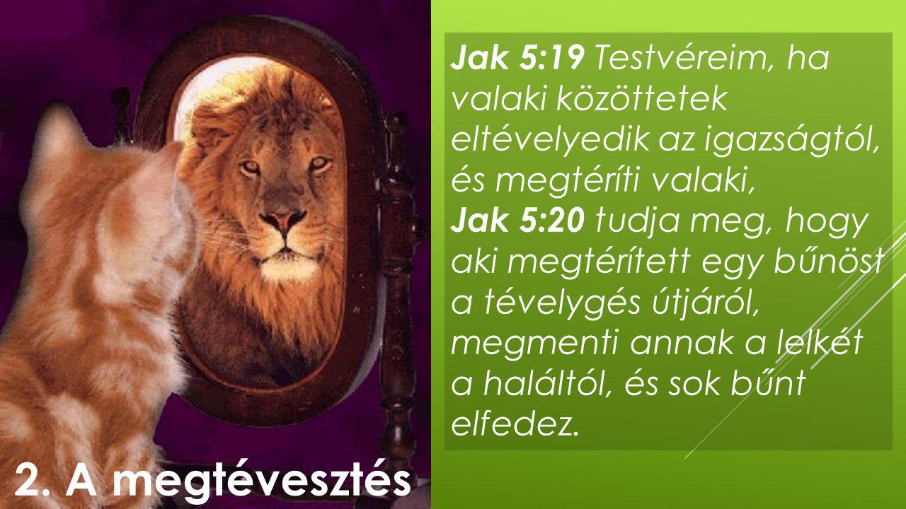 Jak 5:19 Testvéreim, ha valaki közöttetek eltévelyedik az igazságtól, és megtéríti valaki, Jak 5:20 tudja meg, hogy aki megtérített egy bűnöst a tével