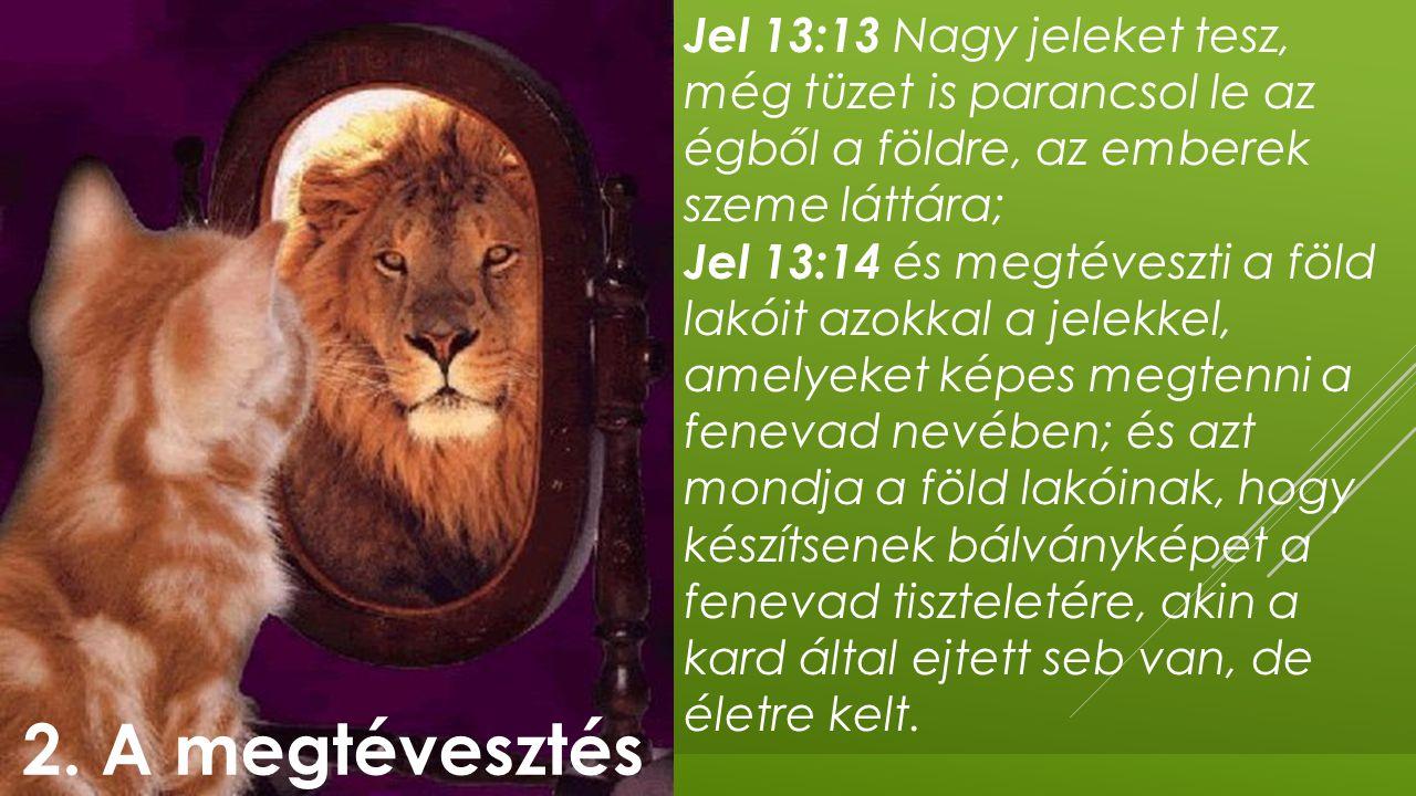 Jel 13:13 Nagy jeleket tesz, még tüzet is parancsol le az égből a földre, az emberek szeme láttára; Jel 13:14 és megtéveszti a föld lakóit azokkal a j