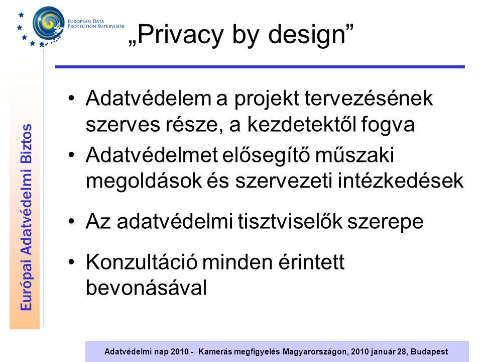 """Európai Adatvédelmi Biztos Adatvédelmi nap 2010 - Kamerás megfigyelés Magyarországon, 2010 január 28, Budapest """"Privacy by design"""" Adatvédelem a proje"""