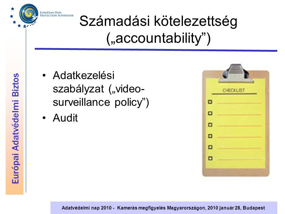 """Európai Adatvédelmi Biztos Adatvédelmi nap 2010 - Kamerás megfigyelés Magyarországon, 2010 január 28, Budapest Számadási kötelezettség (""""accountability ) Adatkezelési szabályzat (""""video- surveillance policy ) Audit"""