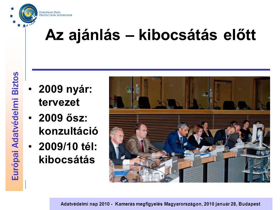 Európai Adatvédelmi Biztos Adatvédelmi nap 2010 - Kamerás megfigyelés Magyarországon, 2010 január 28, Budapest Az ajánlás – kibocsátás előtt 2009 nyár